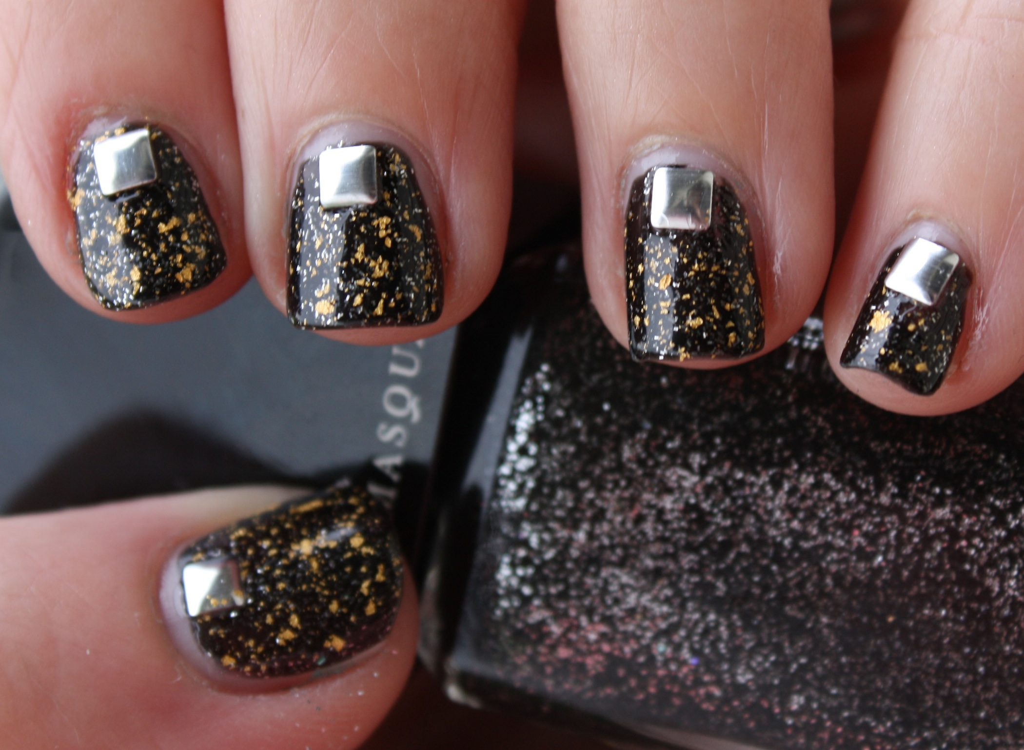 Black and Gold Manicure with Silver Studs! – horrendous color
