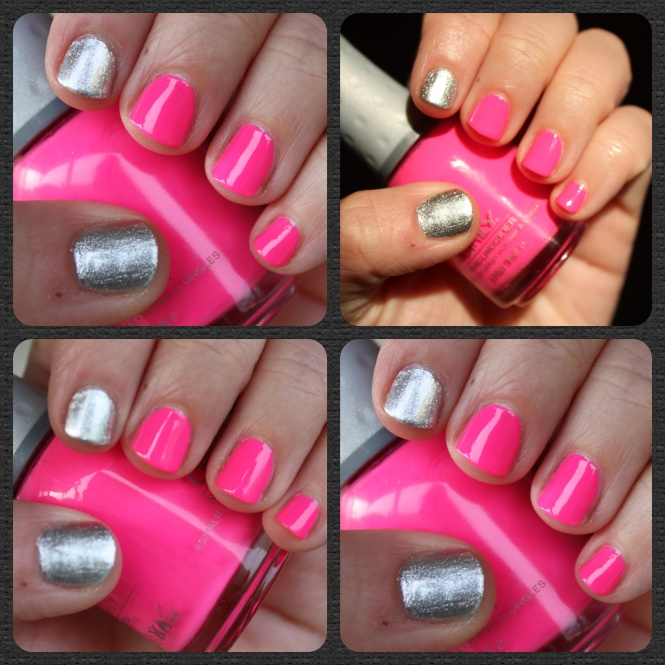Pink & Silver Manicure- Orly Beach Cruiser and Butter London Diamond Geezer